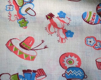 "Vintage Novelty Mexican Theme Fabric Cactus, Maracas, Pottery, Guitars One (1) yard x 40"" W"