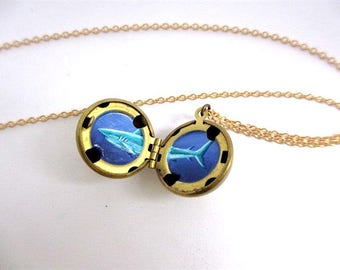 Shark Locket, Enamel Painted Necklace, Tiny Miniature Deep Sea Artwork