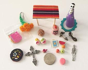 Day of the Dead* Dia de los Muertos* Shrine* Altar* Ofrenda* Nicho* Miniature Kit *Skeleton* Pan de Muertos*Loteria*Sugar Skulls*Mini