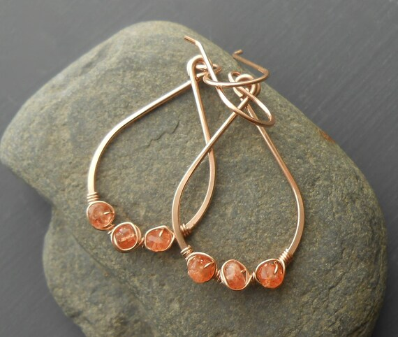 Rose Gold Dangle Earrings, Sunstone Wire Wrapped Gold Filled Gemstone Earrings