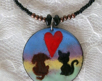Cat and Dog Love Necklace