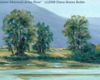 Original 4x6 inch oil painting --SUMMER AFTERNOON -- unframed landscape, by Diana Moses Botkin