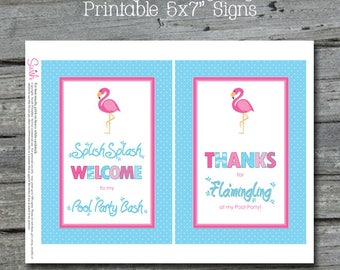 Flamingo Pool Party | Flamingo Welcome Sign | Thank you Sign | Digital Download | Printable | Instant Download | Birthday Flamingle