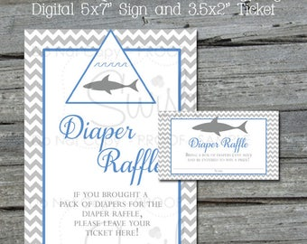 Shark Baby Shower Diaper Raffle | Diaper Raffle Tickets And Sign | Blue And Gray Shark Diaper Raffle Inserts | Chevron Diaper Raffle Tickets