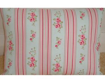 "14x22 Oblong Bolster Pillow Cover 22""x14"" Duck Egg Blue and Pink Stripes Flowers Chintz Floral Cushion Case Sham Slip Throw Pillowcase 22x14"