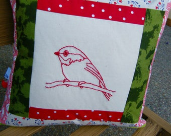 Patchwork Embroidery  Just a bird  Style Decorative Pillow Cover