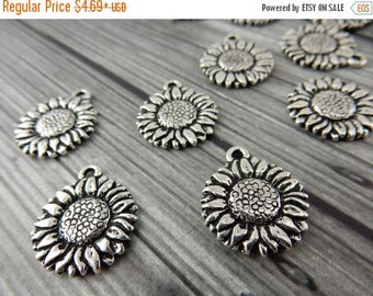 Summer Flash Sale SUNFLOWER Charms, Antique Silver, Tierracast, Flower Charm Drops, Tierra Cast Charm