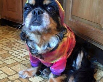 Dog Days of Summer Tye Tie Dye Cotton Hoodie Medium T Shirt Yorkie Chihuahua Small Dog Indigo Vat Dye-Carla Smale