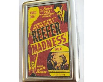 Reefer Madness metal wallet retro vintage pot propaganda cigarette case kitsch