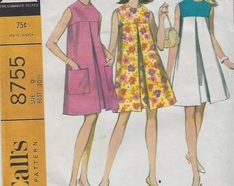 Vintage McCall's 1967 Dress Pattern 8755 Size size 9