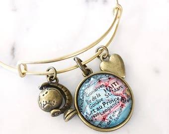 Haiti Bracelet - Port au Prince Bracelet - Travel Jewelry - Travel Bracelet - Wanderlust Bracelet - Wanderlust Jewelry - Charm Bracelet