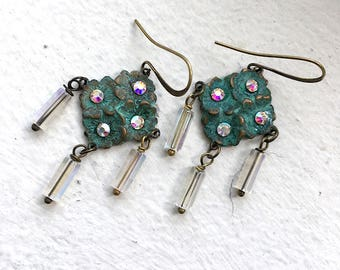 Verdigris Flower Earrings~Swarovski crystal studded~glass beads~rainbow aura crystal AB~tiny garden earrings