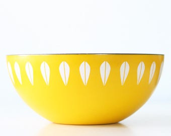 "Vintage Cathrineholm Bowl, Yellow Lotus Bowl, 9 1/2"" diameter"