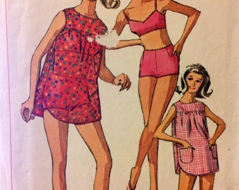Vintage 1966 Simplicity 6546 Misses' Beach Shift and Two Piece Bathing Suit Sewing Pattern Bust 32 Complete