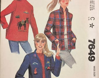 1980's McCall's 7649 Misses' Jackets Size Small  Bust 32-34 Inches Uncut Complete Sewing Pattern