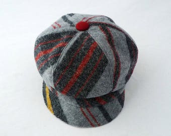 Women's Newsboy Hat in Gray, Red, and Mustard Yellow Striped Wool, Faux Suede Accents: Fall Hat, Cloche Brim, Cute Hat, Cap, Chapeau, Mod