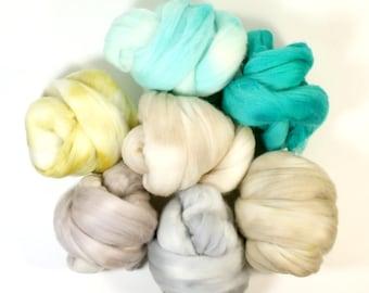 fisherman  .. wool roving set, weaving creative yarn bundle, handspinner, hand dyed merino wool, hand spinning