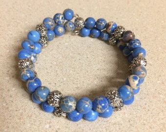 Blue Sea Sediment Jasper bead bracelet memory wire - fancy silver accent beads
