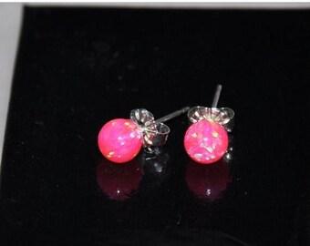 6mm Ball Stud Earrings,  Hot Pink Earrings, Opal Earrings, Sterling Silver,  Pink opals,  925 Sterling Silver