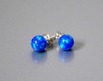 Stud earrings,  Pacific Blue,  Opal Earrings,  Sterling Silver,  925 Sterling Silver, Opal Jewelry, 6 mm Opal Ball
