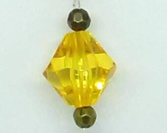 Yellow bicone Pendant Necklace