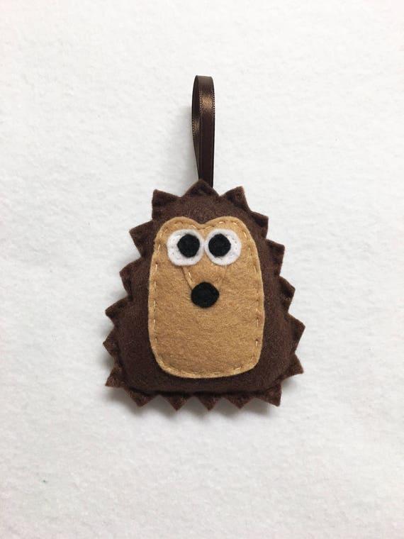 Hedgehog Ornament, Christmas Ornament, Herb the Brown Hedgehog, Woodland Animal, Felt Animal, Forest