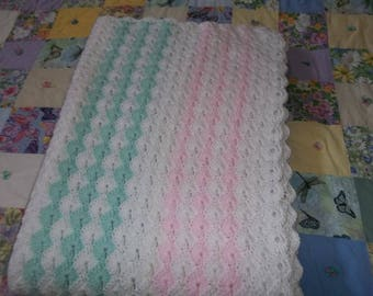 Hand Crocheted Baby Blanket, Nursery Blanket, Afghan, Throw, Crib Size 40 X 57 Newborn Baby Gift