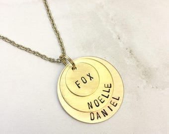 Personalized Stamped Name Necklace, Mommy Necklace, Gift Idea For Mom