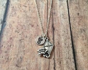 Kite initial necklace- kite jewelry, spring jewelry, kite festival jewelry, springtime jewelry, recreation jewelry, silver kite necklace