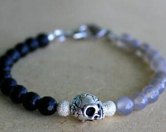 Skull Bracelet, Silver and Black Skull Bracelet, Skull Jewelry, Beaded Bracelets, Sugar Skull, Gift For Her, Christmas Gift