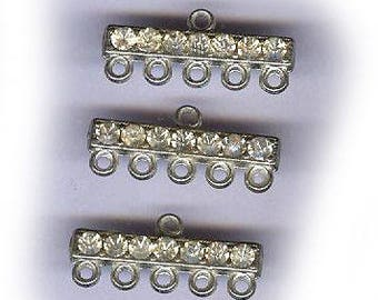 vintage art deco RHINESTONE CONNECTOR FINDINGS, one hole to five hole, three pieces, solid bar