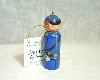 Ornament Civil War CAVALRY soldier Union hand painted in USA