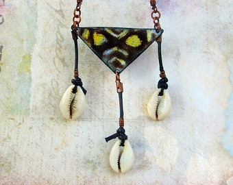 Triangle necklace cowrie shells Brown Enamel African Bohemian Jewelry