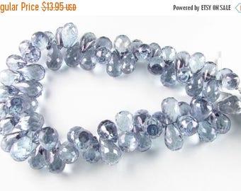 SHOP SALE Plump Mystic Blue Quartz Faceted Pineapple Teardrop Tear Drop Gems Briolettes 13mm - 14mm (6 beads)