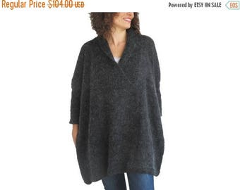 20% WINTER SALE Plus Size Dark Gray Hand Knitted Sweater - Tunic - Sweater Dress by Afra