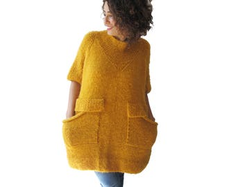 Hand Knitted Yellow Dress Sweater - Tunic with Pockets