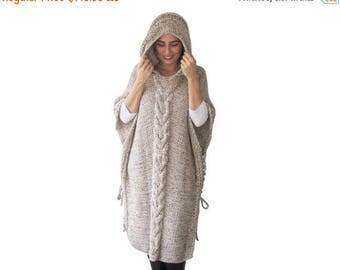 20% WINTER SALE NEW! Plus Size Maxi Knitting Poncho with Hoodie - Over Size Tweed Beige Cable Knit by Afra