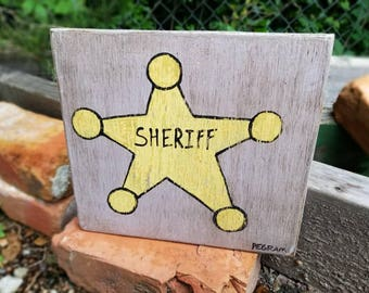 Sheriff Folk Art on Wood