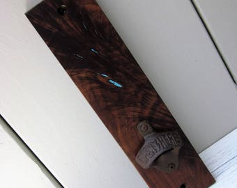 Walnut Wall-mount Bottle Opener with Turquoise Inlay