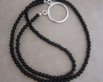 black obsidian silver eyeglass loop chain holder necklace style