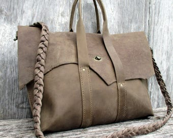 Rustic Taupe Leather Satchel / Cross Body Bag by Stacy Leigh