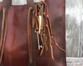 Handmade Leather Tote - Shoulder Bag in Dark Chestnut / Oxblood by Stacy Leigh