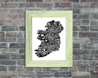 Ireland typography map framed art print country poster wall decor engagement wedding housewarming birthday gift