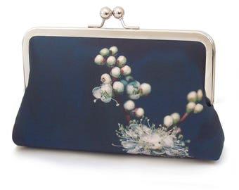 Meadowsweet white blossom clutch bag, flower purse, printed silk handbag