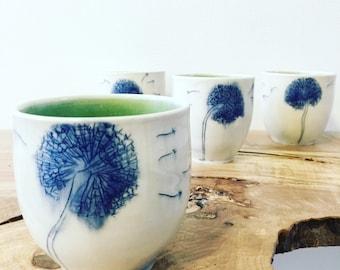 One Blue Dandelion Porcelain Tumbler - MADE TO ORDER