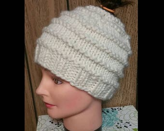 Cream Knit Messy Bun Hat