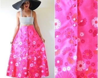 SUMMER SALE / 20% off Vintage 60s 70s Vibrant Flamingo Pink High Waisted Floral Screen Printed A Line Cotton Maxi Skirt (size small, medium)