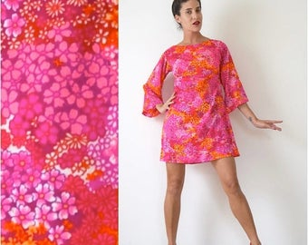 SUMMER SALE/ 30% off Vintage 60s Hawaiian Floral Print Empire Waist Bell Sleeve Mini Dress (size small, medium)