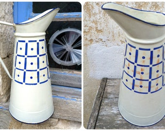 Vintage Antique 1900 French Art deco granitware   enamel cream pitcher