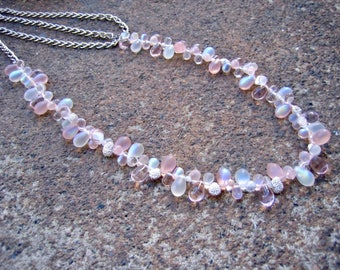 Eco-Friendly Statement Necklace - Tickled Pink - Recycled Vintage Chain with Glass and Metal Beads in Pale Pink, Clear and Frosty White